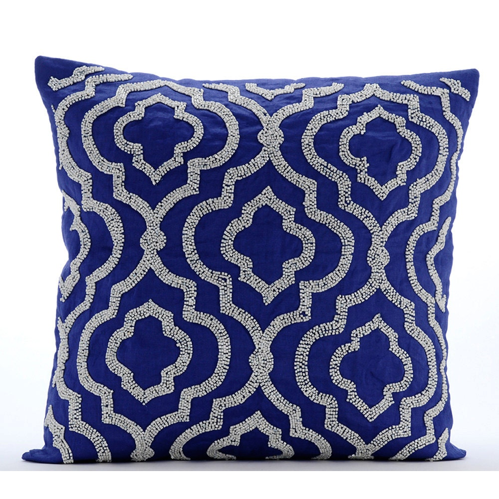 Handmade Blue Throw Pillow Covers 17x17 Cotton