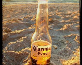 Corona Beer Beach Art Print - TTV Alcohol Tiki Tropical Mexico Wall Art Photograph