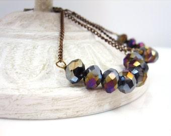 Triangle Earrings, Geometric Earrings, Long Chain Earrings, Long Dangle Earrings, Beaded Earrings, Black Quartz Earrings, PRISM