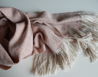 Woven tweed scarf, pink scarf, peach scarf, wool scarf, merino scarf, birthday gift, handwoven wrap, women scarf, winter scarf, gift for her