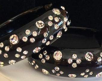 Vintage Weiss Clamper Bracelet~Set Of Two~Thermoplastic/Celluloid~Black/Clear Rhinestones~Signed