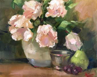 "Peaceful Moment, 10"" x 10"", oil, original, tulip, tulips, still life, krista eaton"