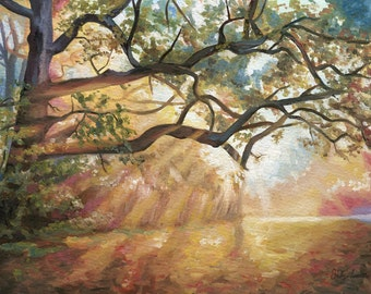Sunlight Forest Oil Painting - Fine Art Giclee Print by Emily Luella