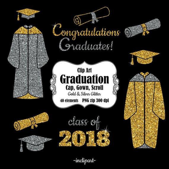 Graduation clip art. Cap gown scroll year clipart.