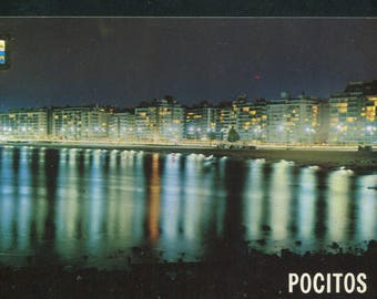 Uruguay Vintage Postcards  / 1 Unused Postcard Uruguay South America/ Positos Beach Montevideo Uruguay At Night