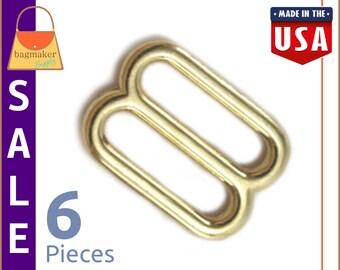 "On Sale : 3/4 Inch Cast Slides for Purse Straps, Brass Finish, 6 Pieces, .75"", Handbag Purse Strap Bag Making Hardware Supplies, BKS-AA049"