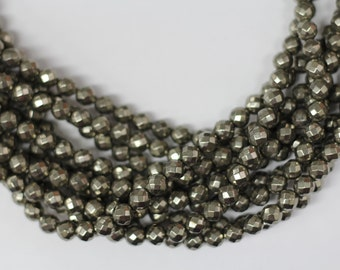 "Gold Pyrite 8mm faceted round beads 16"" length strand"