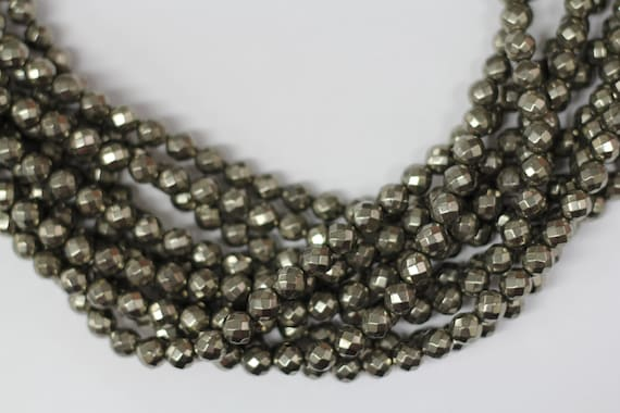 """Gold Pyrite 8mm faceted round beads 16"""" length strand"""