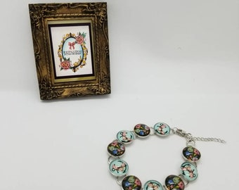 Anchor & Floral Silver Bracelet