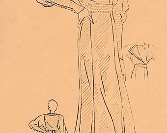 ON SALE Vintage 1930s Regal Dinner Dress Organ Pipe Dolman Sleeves Tiny buttons Superior Pattern 711 30s Art Deco Sewing Pattern Size 16 B34