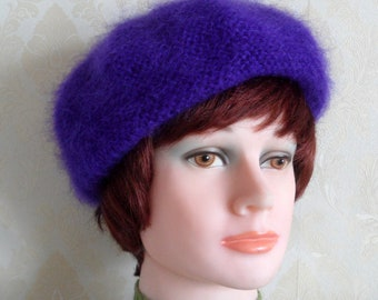 Violet fluffy kid mohair beret-Smart super soft mohair beret-Elegant women's beret-Hand knit violet kid mohair beret-Made to order beret