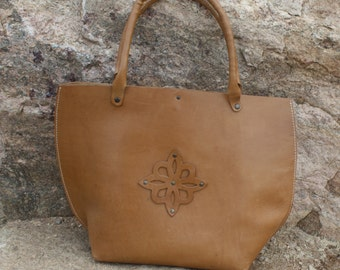 Yellow Leather Tote / Purse / Handbag - Handmade in Turkey