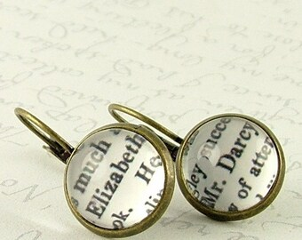 Bookworm Gift - Jane Austen Gifts - Book Jewelry - Elizabeth Bennet Mr Darcy Earrings - Pride and Prejudice - Literary Book Lover Gift