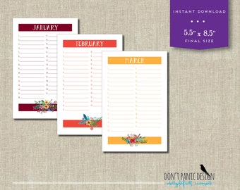 Printable Floral Bouquet Calendar - Birthday Calendar - Anniversary Calendar - Eternal Planner - Instant Download PDF