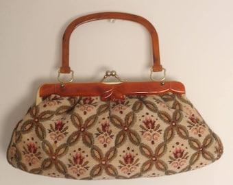 1940s handbag, vintage 40s purse, vintage 40s handbag, vintage floral 40s tapestry purse, 1940s boho purse, boho handbag, 1970s accessorie
