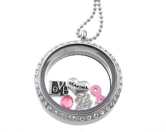 Breast Cancer Necklace  / Floating Locket / Cancer Awareness Jewelry