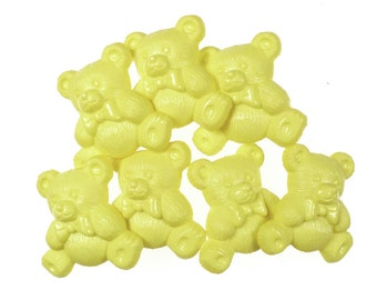 Big vintage teddy buttons in yellow 7 pcs