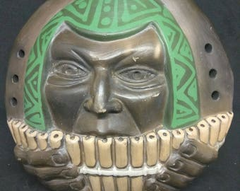 Large Handmade Zamponista Ocarina Clay Whistle with Face Made in Chile Africa