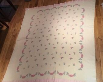 VINTAGE WOOL CHATHAM Floral  Blanket