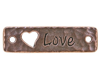2 TierraCast Love 1 and 9/16 inch ( 40 mm ) Copper Plated Pewter Links