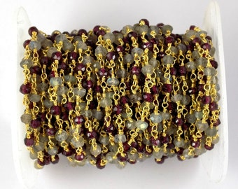 10 Feet Garnet Labradorite Faceted Beaded chain 24k Gold Plated Chain Rosary Gorgeous Gold Plated Rosary For Jewelry Making
