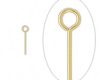 1737FN Eyepin, gold plated brass, 1/2 inches, 24 gauge. Sold per pkg of 100.