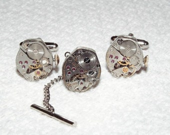 Steampunk Watch Movement Cuff Links and Tie Tack