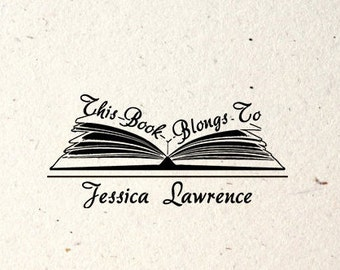Wood Handle / Mount, This book Belongs to, Personalized Library Stamp - #02