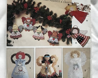 Angel Christmas Tree Topper or Ornaments Sewing Pattern // Simplicity Crafts 0604 // Rag Doll Victorian Southwest Patriotic Cow Cat Pig Bear