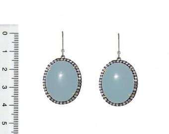 925 sterling silver Diamond Blue Chalcedony Gemstone Dangle Earrings wedding jewelry