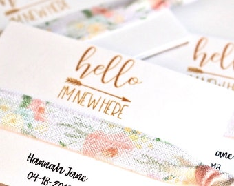 Hello I'm New Here Hair Ties, Floral Hair Tie Shower Favors, Baby Shower Hair Ties, Baby Announcement Favors, Hair Tie Favors, Baby Shower