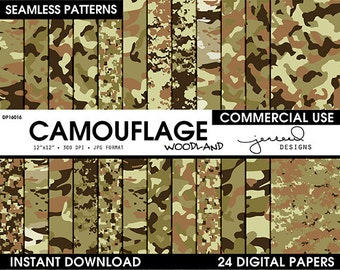 Army Camo Paper || Camo Patterns || Military Camouflage || Woodland Camo || US Army Camo || Camouflage Pattern || Commercial Use || DP16016