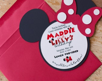 Minnie Mouse invitation, red Minnie Mouse, Mickey invitation, birthday invitation