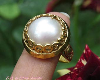 18kt Gold on 925 Silver Mabe Pearl Ring Size 9.5 GPR-163-DG