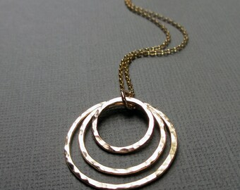 Gold Circle Necklace, Yellow 14kt Gold Fill, Hammered Rings, Eternity Necklace, 3 Concentric Circles, Modern Jewelry, Gift for Mom, Under 75