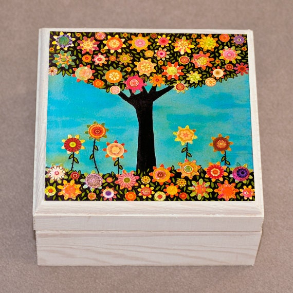 Jewelry Box Wooden Handmade Jewellery Box In Full Bloom