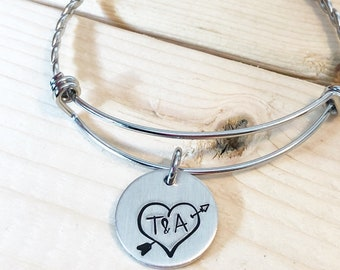 Gift for girlfriend - Couples names - Hand stamped bracelet - Couples bracelet - Girlfriend bracelet - Anniversary gift - Personalized gift