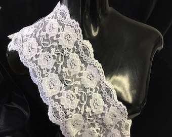 White Shiny floral Stretch lace trim 6""