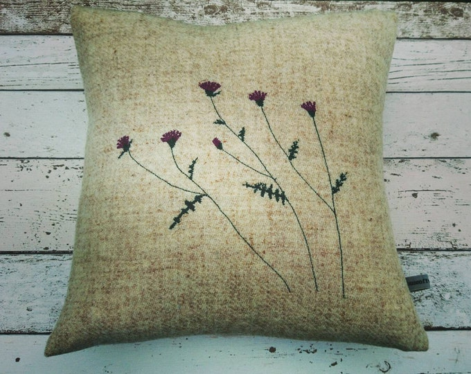 Hand Crafted Harris Tweed thistles cushion cover