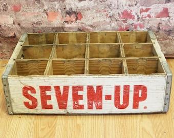 Vtg Seven-Up 7Up Wooden Soda Pop Crate Carrier - Advertising, Denver, Colo