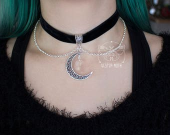 Black Velvet Crescent Moon Choker