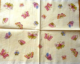 Multicolored butterflies paper towel