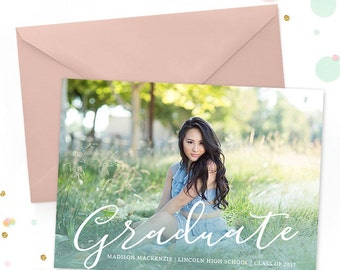 Senior Graduation Invitation Template, Senior Graduation Announcement Template for Photographers, High School Graduation Invitation GD158