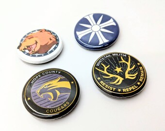 """4 Pack 1.25"""" Far Cry 5 Buttons or Magnets featuring Hope County Cougars Cult Whitetail Militia Cheeseburger F.A.N.G."""