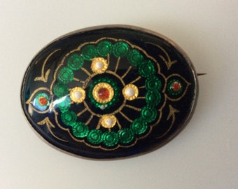 Beautiful Antique Arts and Crafts Guilloche Enameled Sterling Silver Brooch / Pin! Perfect Enamel and Original C-Clasp.  C. 1880s!