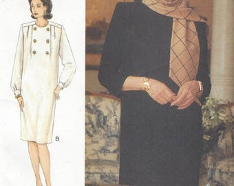 90s Full Figure Womens Chemise Style Dress or Tunic and Skirt Vogue Sewing Pattern 9061 Size 20 22 24 Bust 42 44 46 FF Perfect for Office