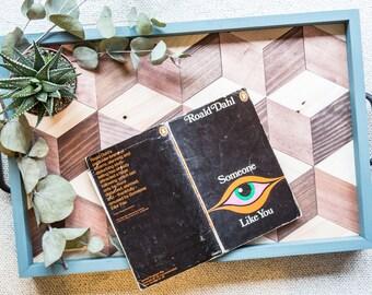 3D Tray / Hexagon Tray - Blue and Walnut Woodstain