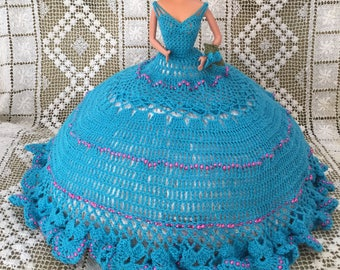 Vintage Barbie Doll, with blue  crocheted dress with pink beads, Barbie Doll for Prom