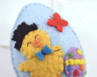 Felt Easter chick, Easter eggs, Chick ornament, Easter decoration, Spring chick, Easter gift