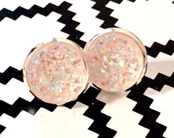 Crystal Druzy Earrings - Silver Settings